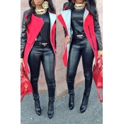 Trendy Turndown Collar Long Sleeves Zipper Design Patchwork Red Long Wool Coat