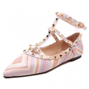 Stylish Pointed Closed Toe T Strap Rivet Decoratio