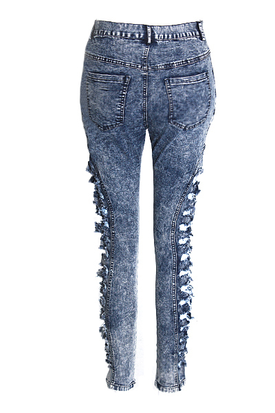 Hot ! Womens Broken Hole Ripped Stylish High-Waisted Skinny Ripped Jeans