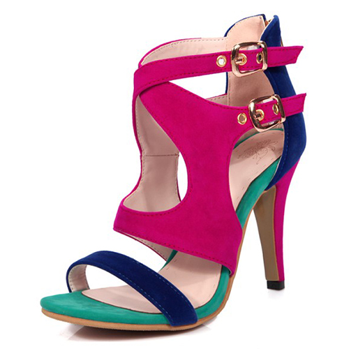 Stylish Open-Toed Color Block Patchwork Hollow-out Stiletto Super High Heel Dark Blue PU Sandals