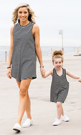 Casual O Neck Tank Sleeveless Black Striped Cotton Blend One-piece Jumpsuits  (Only Adults)<br>
