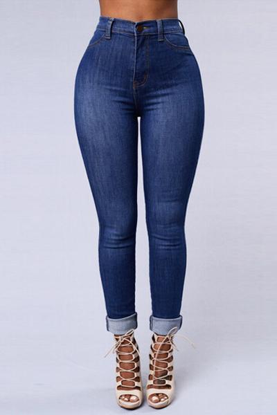 Moda Mediados De Botón De La Cintura Volar Pantalones Vaqueros Flacos De Mezclilla Azul