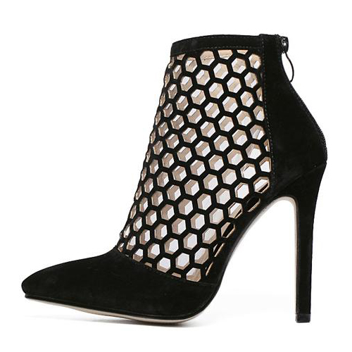 Stylish Pointed Closed Toe Hollow-out Stiletto Super High Heel Black PU Basic Pumps