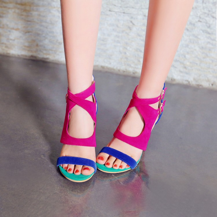 Stylish Open-Toed Color Block Patchwork Hollow-out