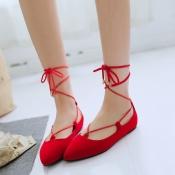 Stylish Pointed Closed Toe Bandage Low Heel Red PU