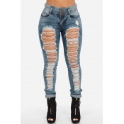 Stylish Mid Waist Broken Holes Blue Denim Skinny J