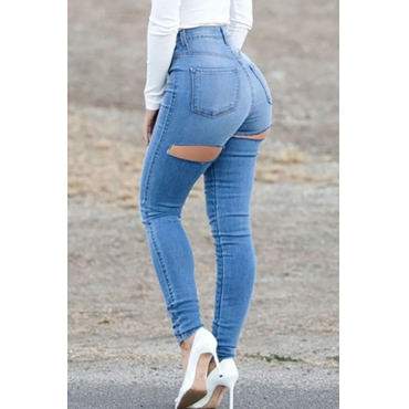Fashion Mid Waist  Button Fly Broken Holes Blue Cotton Blend Skinny Jeans