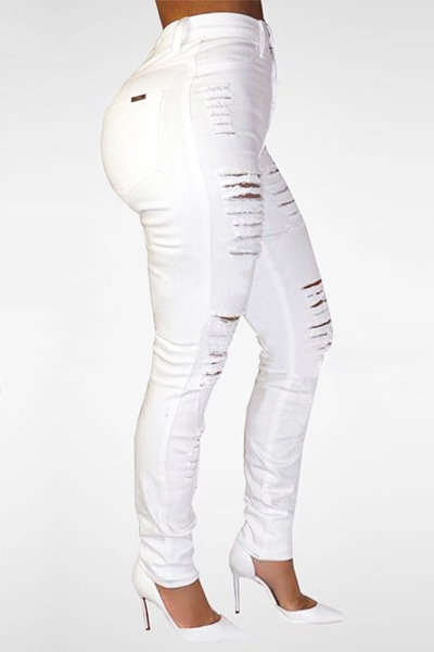 Trendy High Waist Broken Holes White Denim Skinny Jeans