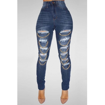 Trendy Mid Waist Broken Holes Metal Decoration Blue Denim Skinny Jeans