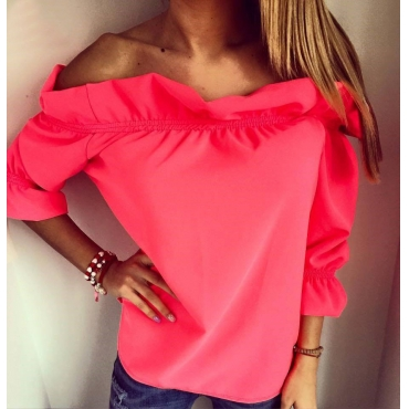 Stylish Bateau Neck Three Quarter Sleeves Falbala Design Rose Red Polyester Pullover