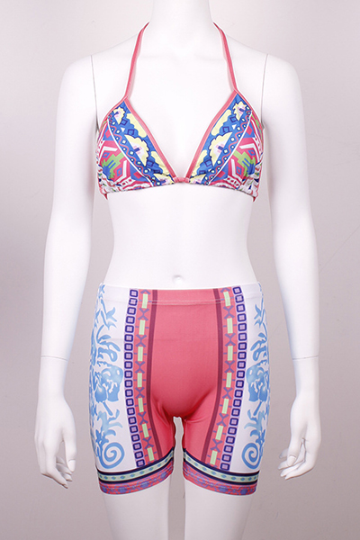 Sexy Halter Neck Lace-up High Waist Pink Two-piece Swimwear