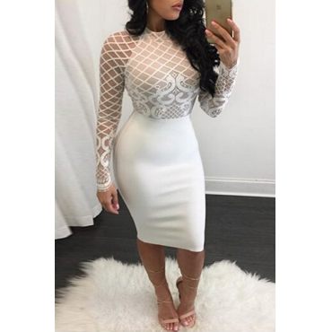Trendy O Neck Long Sleeves Mesh Patchwork White Polyester Sheath Knee Length Dress