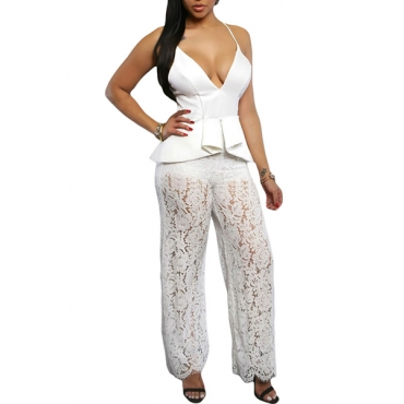 Alluring V Neck Spaghetti Strap Sleeveless Zippered Lace Patchwork White Polyester One-piece Jumpsuits
