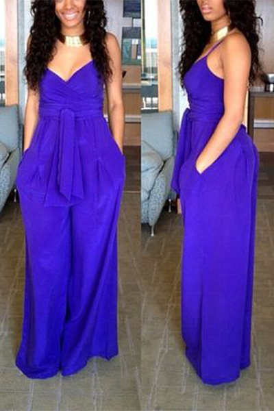 Polyester Solid Boot Cut Womens Jumpsuits