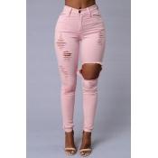 Stylish Mid Waist Broken Holes Pink Blending Jeans