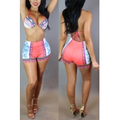 Sexy Halter Neck Lace-up High Waist Pink Two-piece