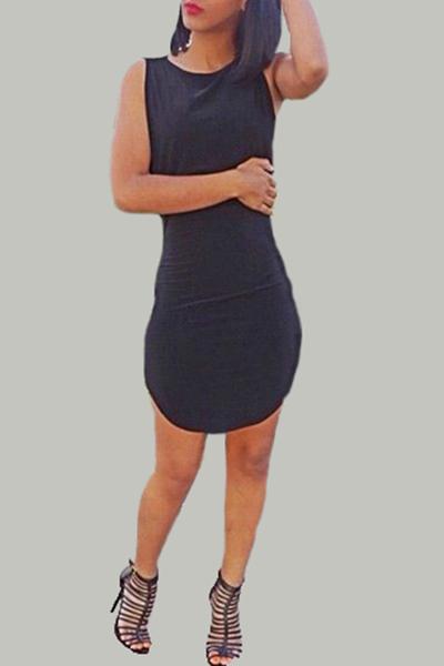 Sexy O Neck Tank Sleeveless Black Polyester Sheath Mini Women Dress
