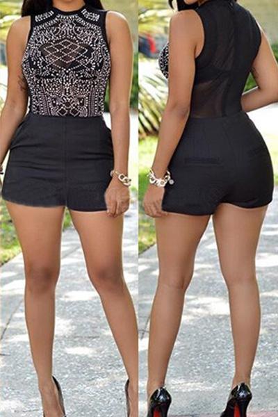 Trendy O Neck Tank Sleeveless Mesh Splicing Black Polyeste One-piece Skinny Jumpsuits