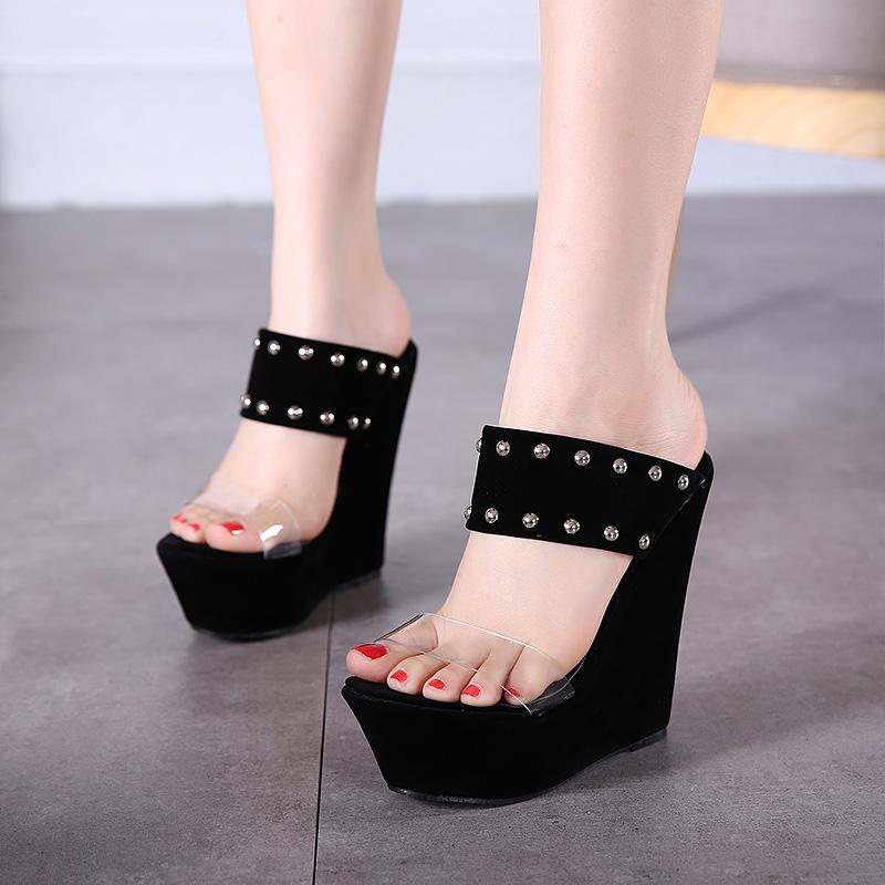 Trendy Open-toe Rivet Decorative Wedge Super High Heel Black PU Sandals