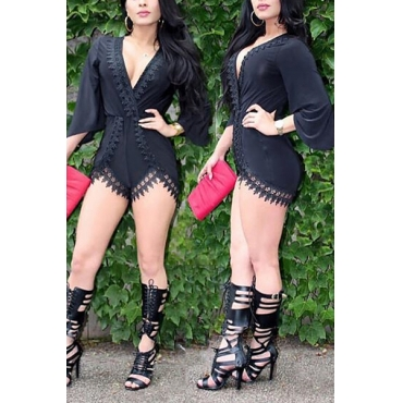 Charismatic V Neck Half Sleeves Lace Trim Patchwork Black Qmilch One-piece Loose Jumpsuits