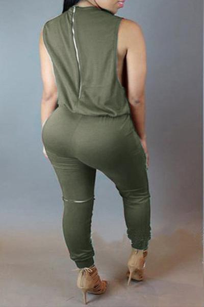 Стильная круглая шея без рукавов Разбитые отверстия Застежка-молния Дизайн Army Green Polyester Цельные комбинезоны