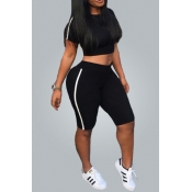 Lovely Black Polyester Shorts Solid O neck Short S