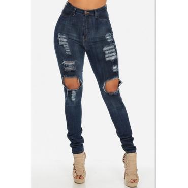 Trendy High Waist  Knee Broken Holes Blue Denim Skinny Jeans