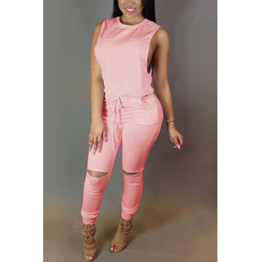 Trendy Round  Neck Tank Sleeveless  Zipper Design Drawstring Pink  Polyester One-piece Jumpsuits