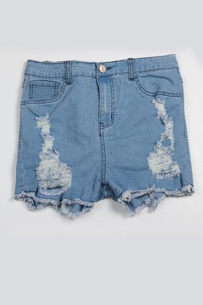 Sexy High Waist Broken Holes Blue Denim Skinny Shorts