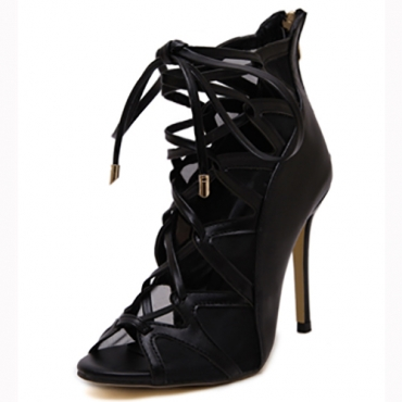 Trendy Open Toe Cross Lace-up Hollow-out Stiletto Super High Heel Black PU Pumps