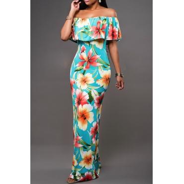 Trendy Bateau Neck Off The Shoulder Short Sleeves Falbala Design Blue Cotton Blend Sheath Ankle Length Dress