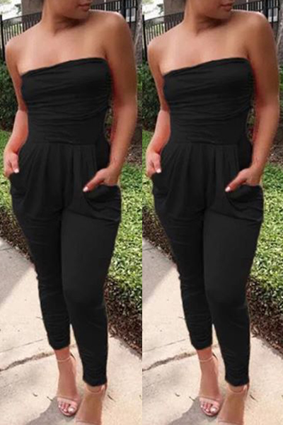 d42dca0a0 Trendy Strapless Drape Design Black Cotton Blends One-piece Skinny ...