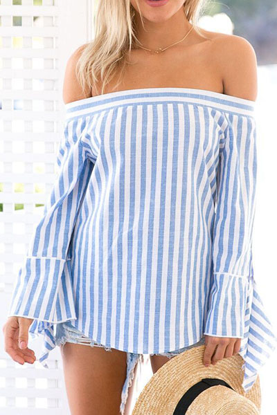 Trendy Bateau Neck Long Sleeves Striped Blue Cotton Blends Shirts