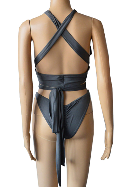Sexy Euramerican Hollow-out Gray Qmilch One-Piece Swimwear