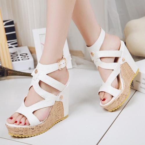 PU Wedge Super High Fashion Ankle Strap Sandals