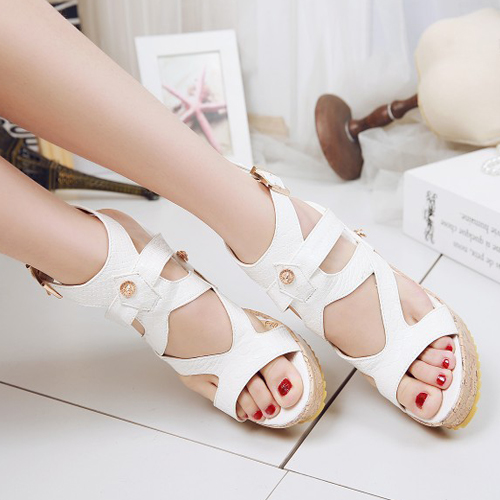 PU Wedge Super High Fashion Ankle Strap Sandals