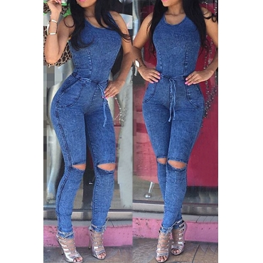 Trendy Round Neck Sleeveless Broken Hole Blue Denim One-piece Skinny Jumpsuits