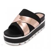 Fashion Open Toe Platform High Heel Gold Microfibe