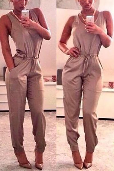 Cheap Sexy Tank Sleeveless Solid Grey Blending One-piece Regular Jumpsuit