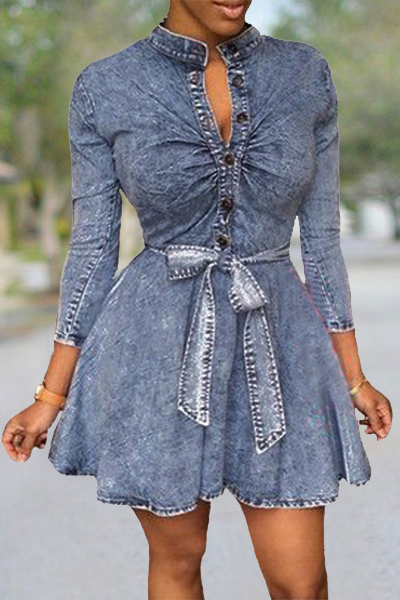 Women Sexy Long Sleeve Bodycon Club Denim Jean Mini-robe