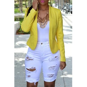 Stylish Mid Waist Broken Holes White Polyester Skinny Shorts
