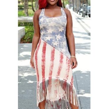 Euramerican em forma de U pescoço sem mangas Bandeira Nacional impresso Qmilch bainha vestido de bezerro médio