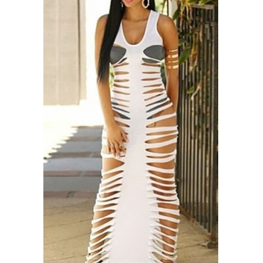 Sexy V Neck Tank Sleeveless Hollow-out White Polyester Sheath Ankle Length Dress