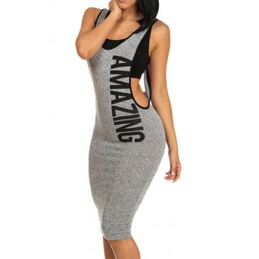 Leisure U-shaped  Neck Sleeveless V-shaped Backless Gray Polyester Sheath Knee Length Dress