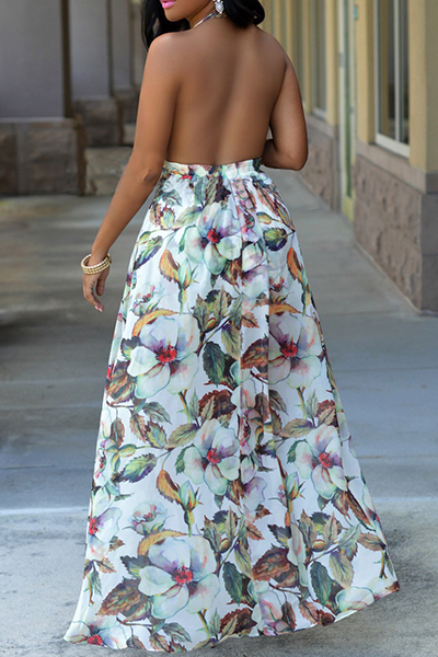 Charming Halter V Neck Backless Floral Print White Chiffon Beach Ankle Length Dress