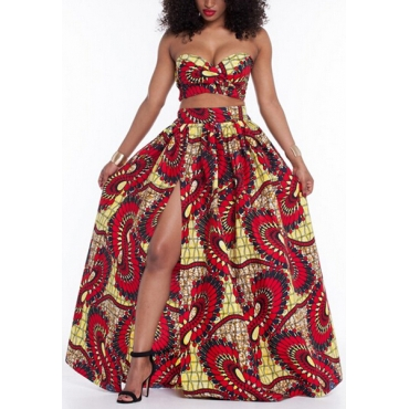 Trendy Strapless Printed High Split Red Qmilch Two-piece Skirt Set