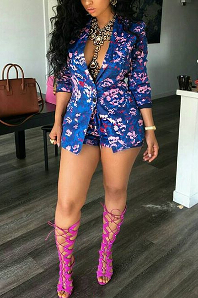 Stylish Turndown Collar Long Sleeves Floral Print Blue Polyester Two-piece Shorts Set