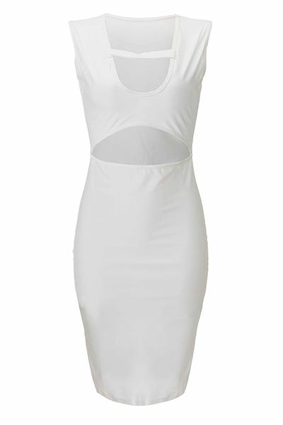 Cuello escote sexy cuello sin mangas-Vestido de Nailon Blanco