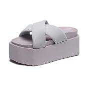 Trendy Open Toe Cross Bandage Hollow-out Mid Heel