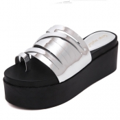 Fashion Open Toe High Heel Silver PU Slippers